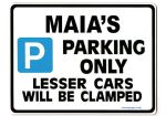 MAIA'S Personalised Parking Sign Gift | Unique Car Present for Her |  Size Large - Metal faced